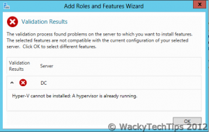Installing Hyper-V on Windows Server 2012