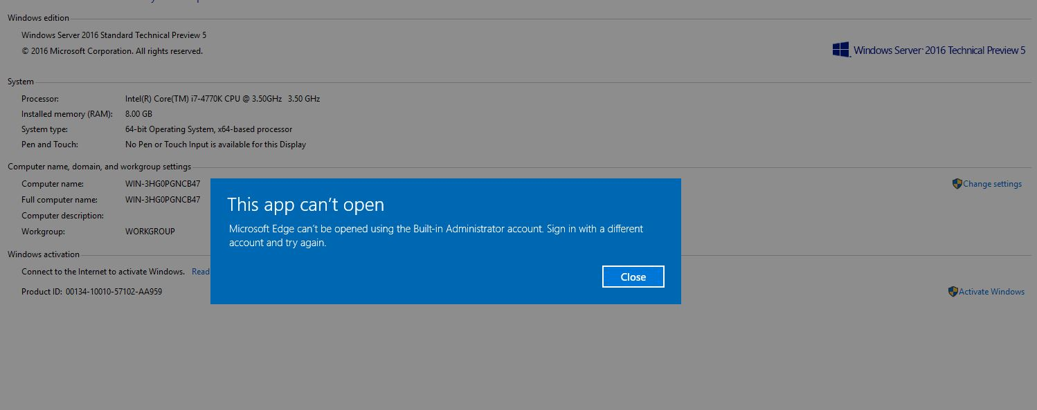 Windows Server 2016 – Enable Microsoft Edge Browser for Administartor